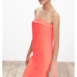Banana Republic Neon Coral Strapless Dress